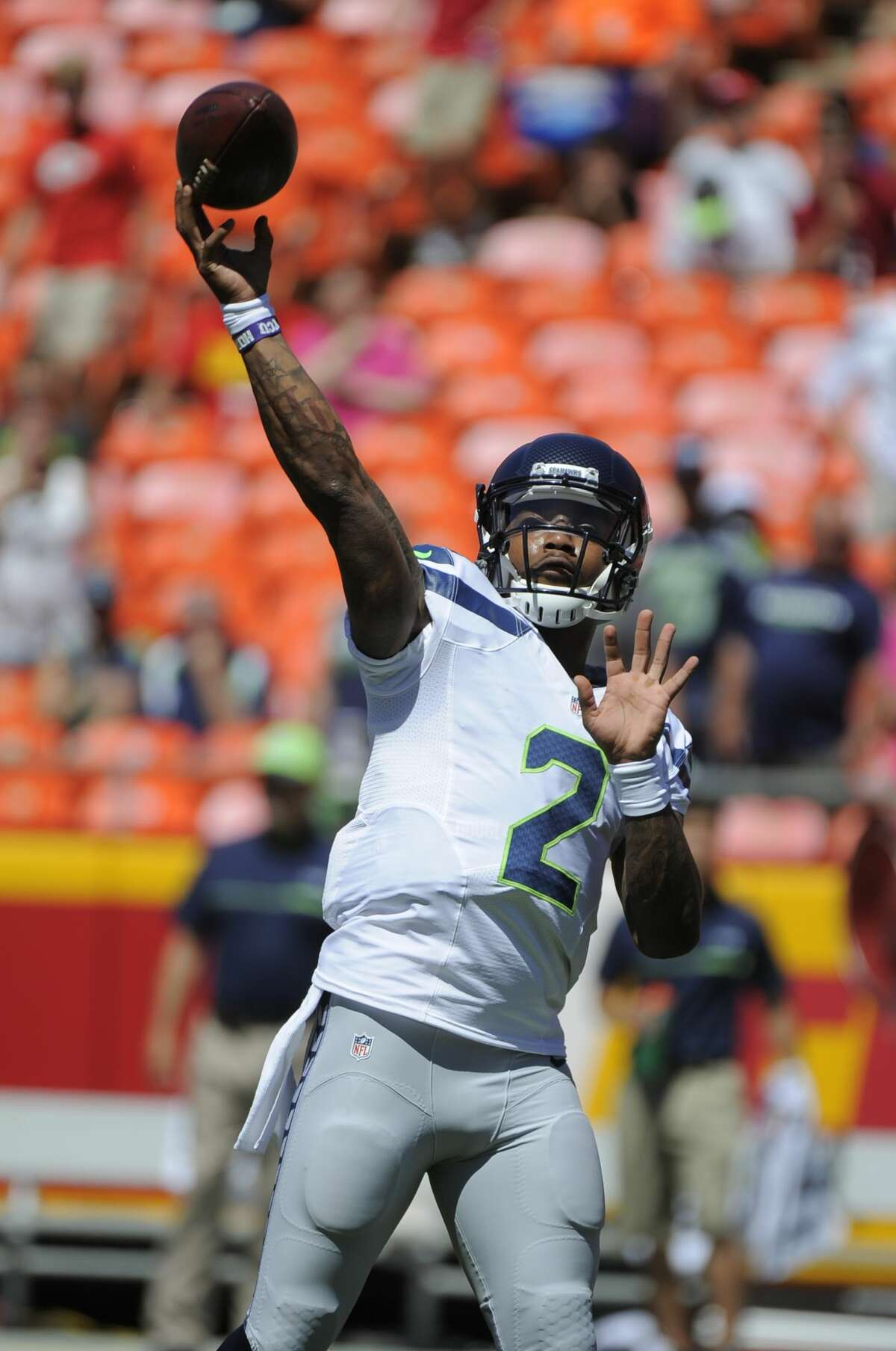 Seattle Seahawks quarterback Trevone Boykin (2) warms up before an NFL preseason football game against the Kansas City Chiefs in Kansas City, Mo., Saturday, Aug. 13, 2016. (AP Photo/Ed Zurga)