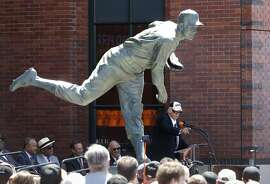 Gaylord Perry speaks to the crowd as the San Francisco Giants unveiled the Gaylord Perry statue near the corner of 2nd and King streets to honor the former pitching star, in front of AT&T Park in San Francisco, California, on Sat. Aug. 13, 2016.