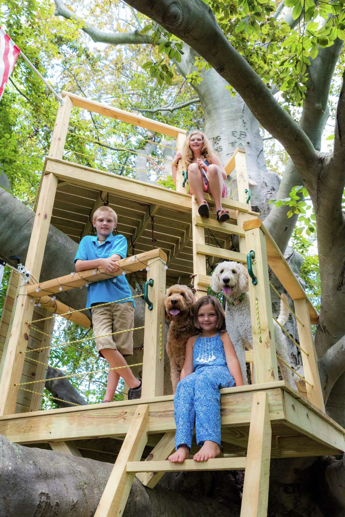 James, Grace and Rebecca Sikora, with dogs Isabella and Sadie, in their treehouse, built into one of the oldest trees in Connecticut.