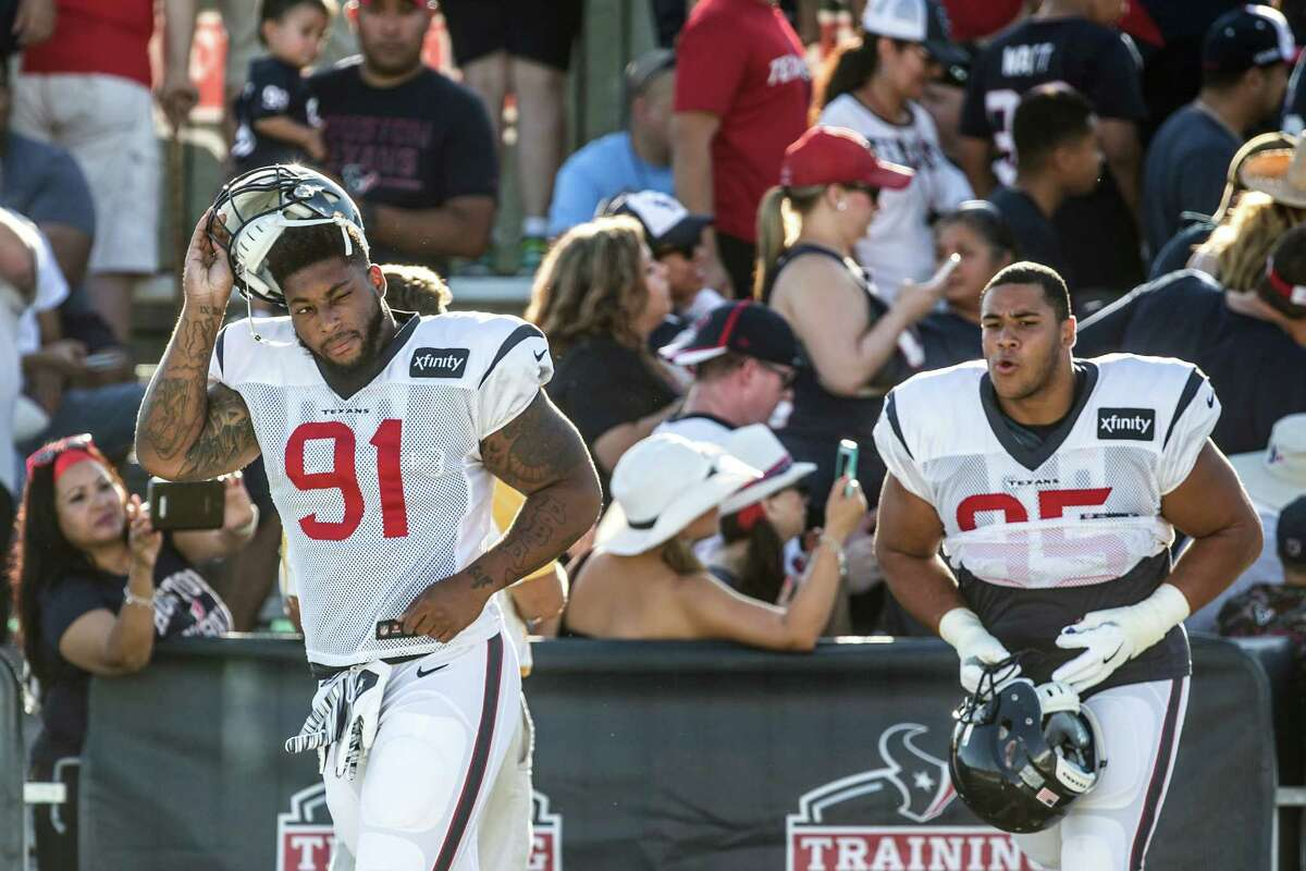 1. Defensive end Pro Bowl defensive end J.J. Watt remains sidelined as he recuperates from back surgery to repair a herniated disc and is on the physically unable to perform list. Devon Still (91) is the frontrunner to start opposite Watt at right defensive end as the replacement for Jared Crick. Still has displayed power, quickness and an increased attention to detail as the former Cincinnati Bengals' second-round draft pick is now able to concentrate fully on football with his daughter, Leah, in remission from her brave fight with cancer. Former Rice standout Christian Covington (right) is competing with Still and figures heavily into the Texans' plans in the defensive line rotation regardless of whether he winds up earning a starting job. Covington's pass-rushing skills are a plus for a defensive line that lacks a true impact player other than Watt. Behind Covington and Still, Brandon Dunn has had a strong training camp and is capable of playing inside or outside.