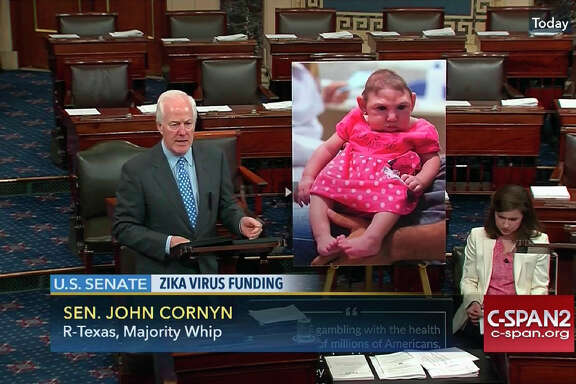 Sen. John Cornyn's June 28 floor speech railing against the Democratic filibuster, accompanied by a placard of a Zika victim with an underdeveloped head.