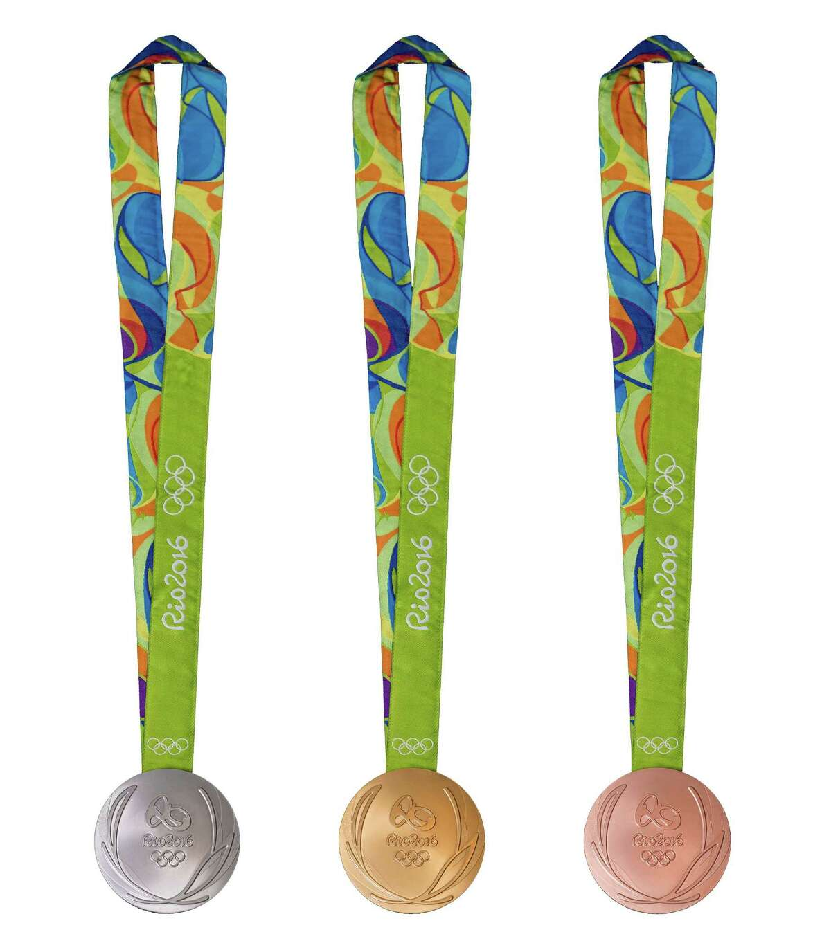 RIO DE JANEIRO, BRAZIL - JUNE 8: In this handout provided by Jogos Rio 2016, the front of the gold, silver and bronze medals for the 2016 Summer Olympics is shown June 8, 2016 in Rio de Janeiro, Brazil. (Photo by Alex Ferro/Jogos Rio 2016 via Getty Images)