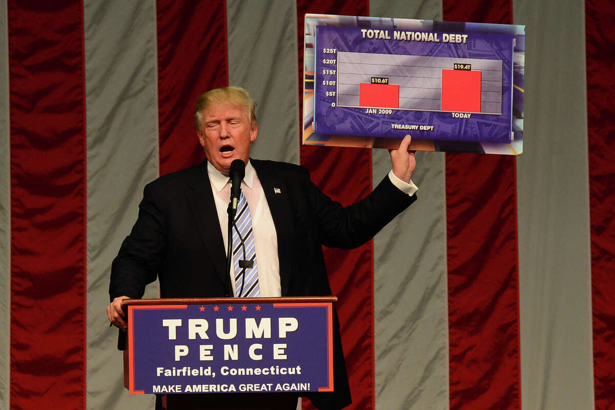 Republican presidential candidate Donald Trump makes a point during Saturday's rally at Sacred Heart University in Fairfield.