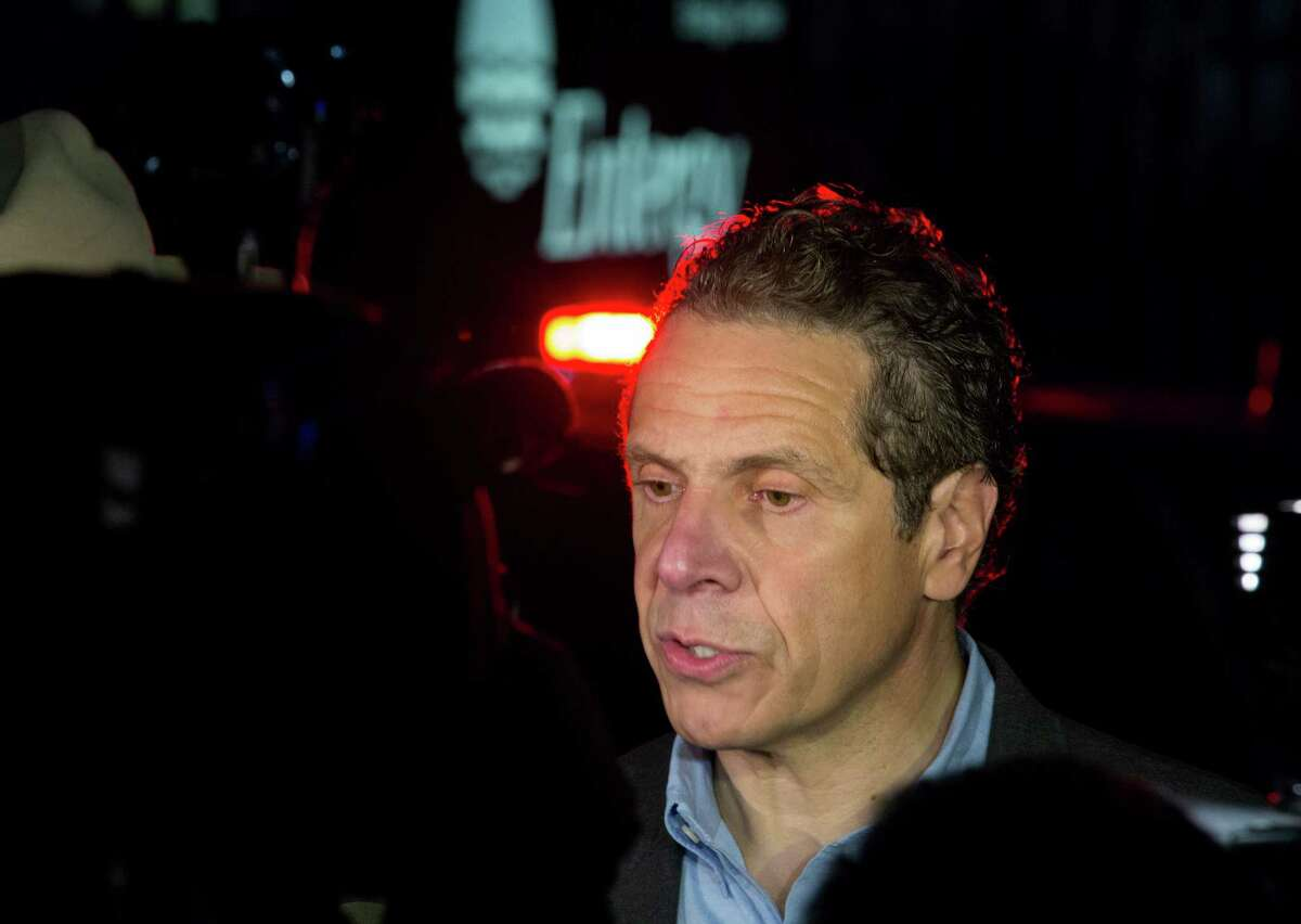 Gov. Andrew Cuomo speaks to reporters near the main entrance of the Indian Point nuclear power plant in Buchanan, N.Y. on Saturday, May 9, 2015 after an Entergy company spokesperson said a transformer failed and caused a fire at the Unit 3 nuclear power plant. The fire was extinguished and the unit shut down automatically according to the company. (AP Photo/Craig Ruttle) ORG XMIT: NYCR110