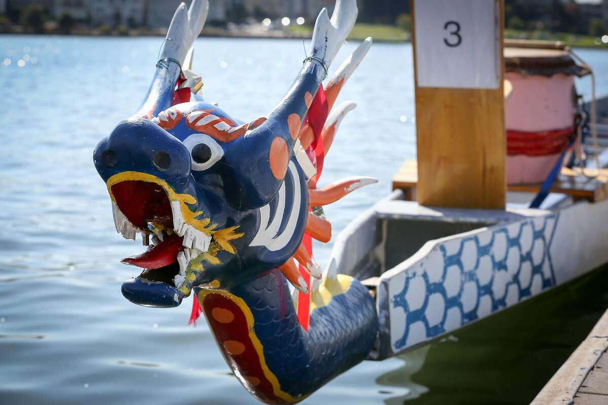 A dragon boat at the Oakland Dragon Boat Festival on Lake Merritt on Sunday, August 14, 2016.