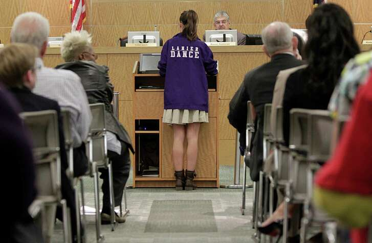 Students and residents were vocal earlier this year in opposing efforts to rename several HISD schools. The district has tallied the cost of new signs, banners and uniforms for those schools at $1.24 million. ( James Nielsen / Houston Chronicle )