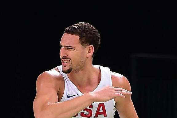 RIO DE JANEIRO, BRAZIL - AUGUST 14:  Klay Thompson #11 of United States reacts during a Men's Preliminary Round Group A game between the United States and France on Day 9 of the Rio 2016 Olympic Games at Carioca Arena 1 on August 14, 2016 in Rio de Janeiro, Brazil.  (Photo by Harry How/Getty Images)