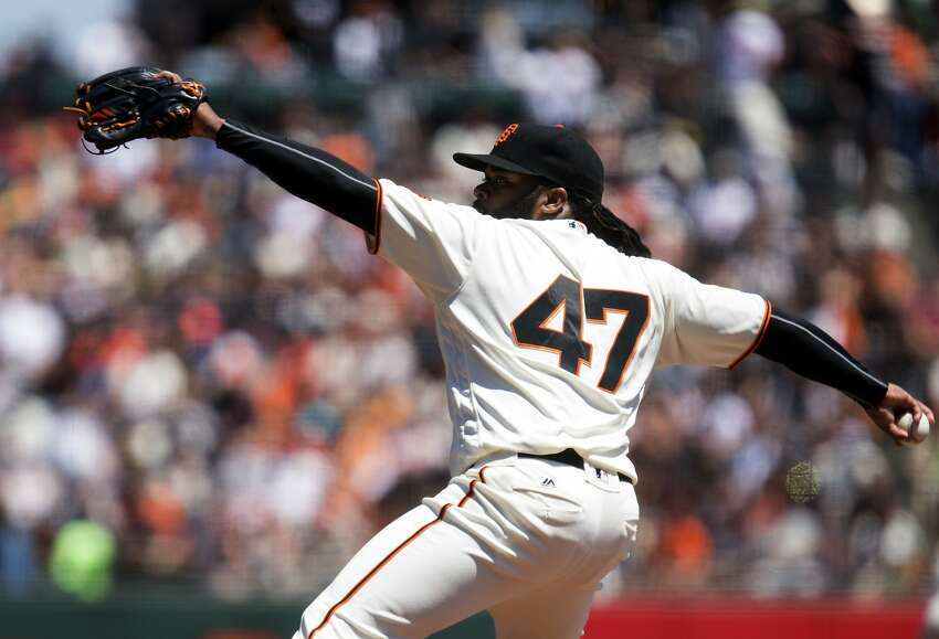 San Francisco Giants starting pitcher Johnny Cueto (47) delivers against the Baltimore Orioles during the first inning of a baseball game, Sunday, Aug. 14, 2016, in San Francisco. (AP Photo/D. Ross Cameron)