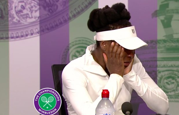 8cc95a349f7 Venus Williams tried to hang in there and answer reporters  questions after  her first-round win Monday at Wimbledon. She really did.