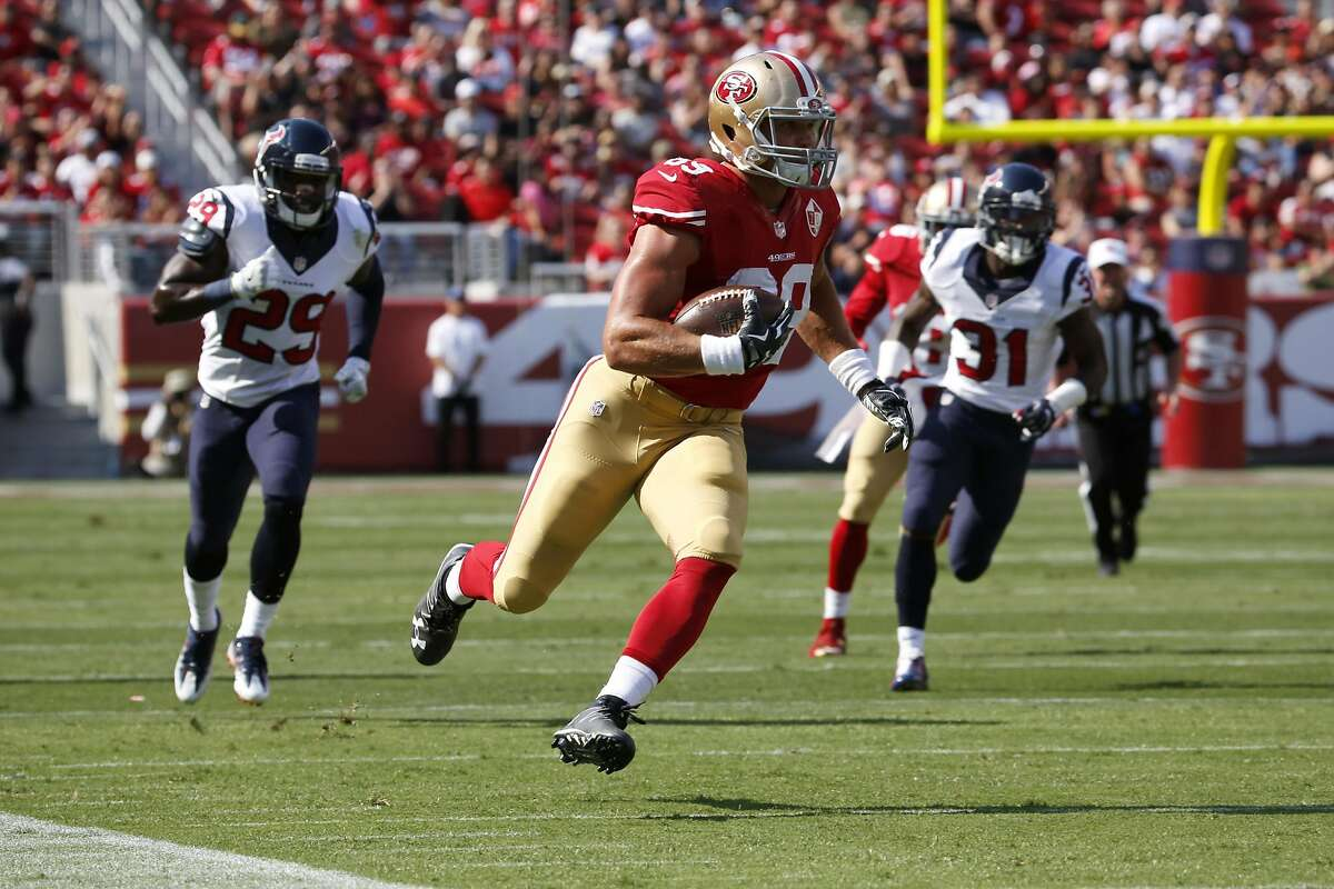 Tight end Vance McDonald (89) races down the sideline toward the end zone during a preseason game between the 49ers and the Houston Texans at Levi's Stadium in Santa Clara, California, on Sunday, August 14, 2016.