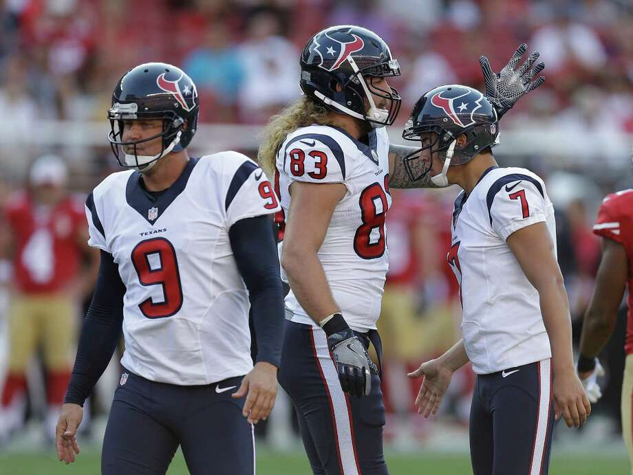Houston Texans kicker Ka'imi Fairbairn (7) is greeted by teammate Eric Tomlinson (83) after kicking a field goal during the second half of an NFL preseason football game against the San Francisco 49ers Sunday, Aug. 14, 2016, in Santa Clara, Calif. At left is the Texans' Shane Lechler (9). (AP Photo/Ben Margot) Photo: Ben Margot, Associated Press / AP