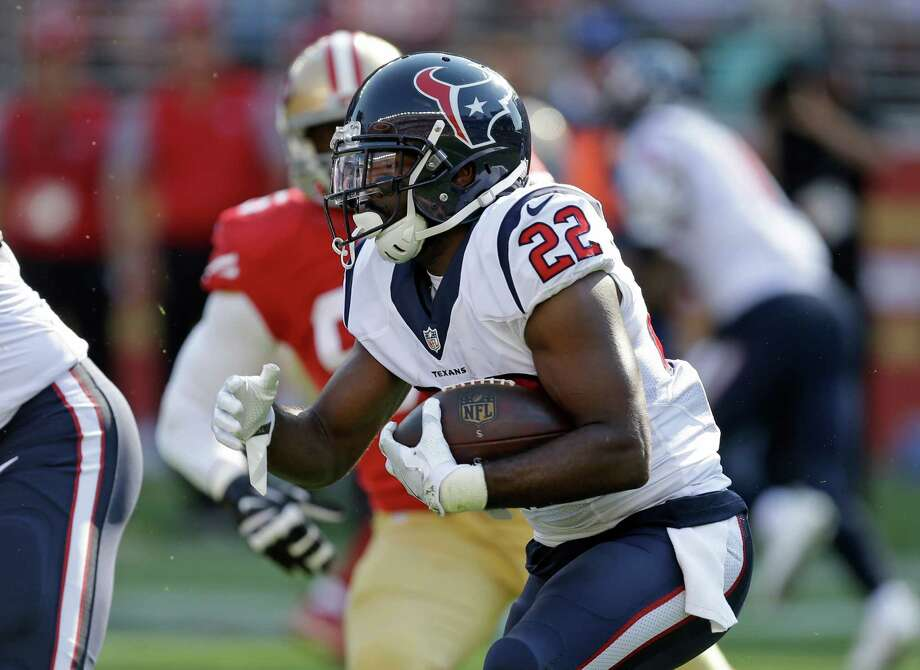 Houston Texans running back Kenny Hilliard carries the ball during the first half of an NFL preseason football game against the San Francisco 49ers Sunday, Aug. 14, 2016, in Santa Clara, Calif. (AP Photo/Ben Margot) Photo: Ben Margot, Associated Press / AP