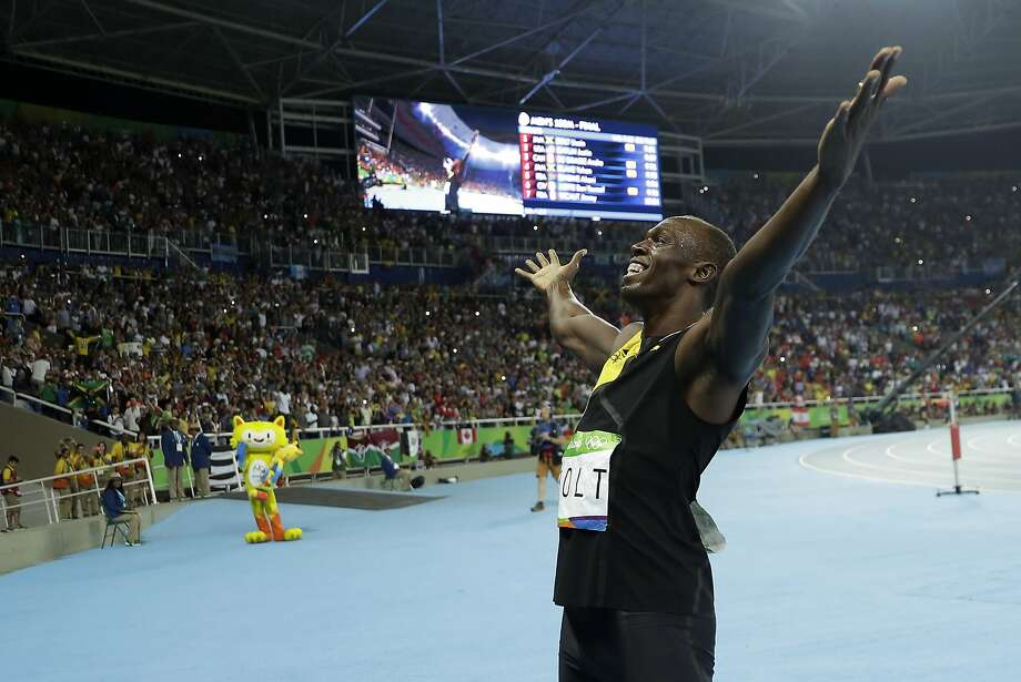 Jamaica's Usain Bolt celebrates after winning the gold in the men's 100-meter final during the athletics competitions in the Olympic stadium of the 2016 Summer Olympics in Rio de Janeiro, Brazil, Sunday, Aug. 14, 2016. (AP Photo/Matt Slocum) Photo: Matt Slocum, Associated Press