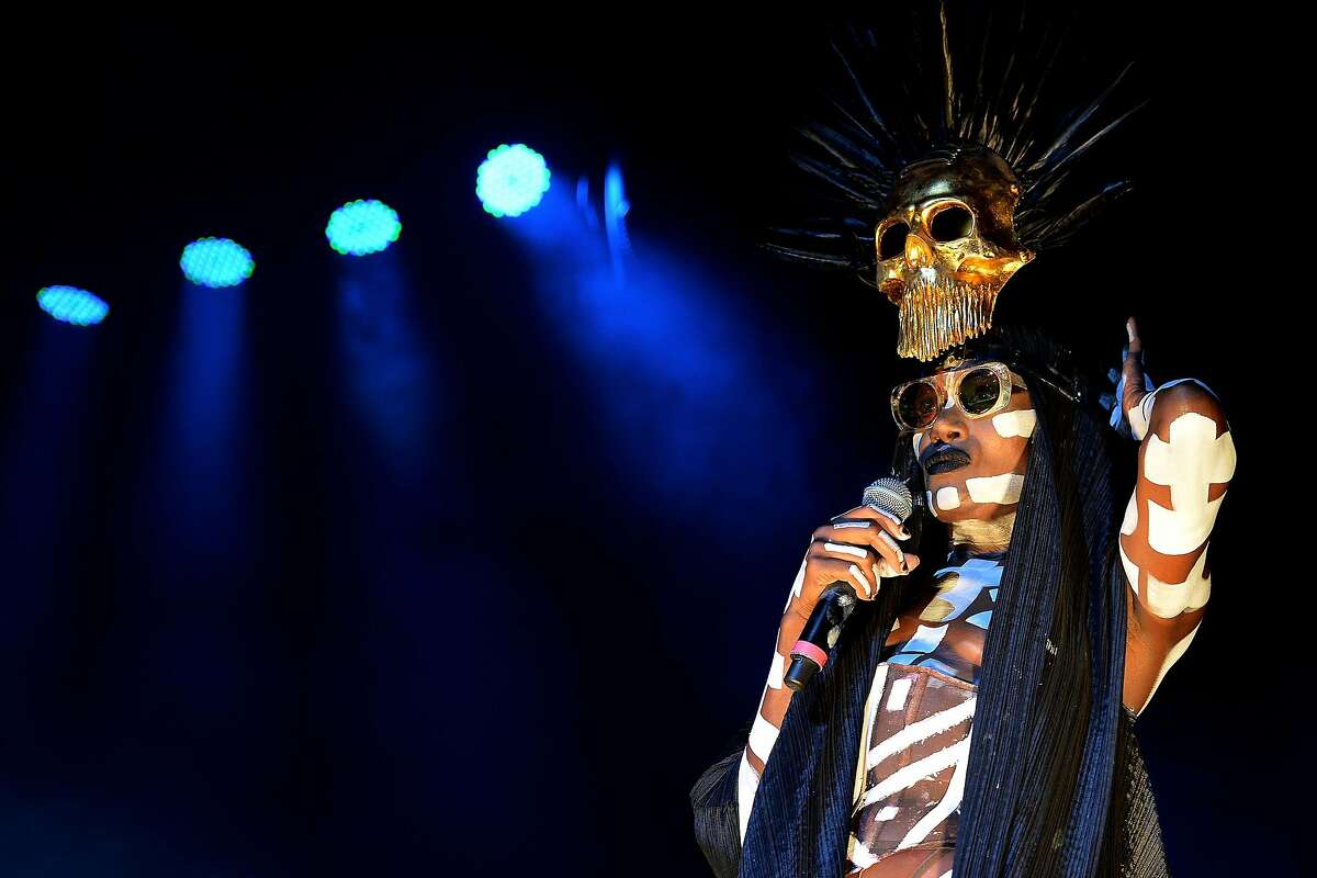COLOGNE, GERMANY - MAY 18: Grace Jones performs on stage at E-Werk on May 18, 2016 in Cologne, Germany. (Photo by Sascha Steinbach/Getty Images)