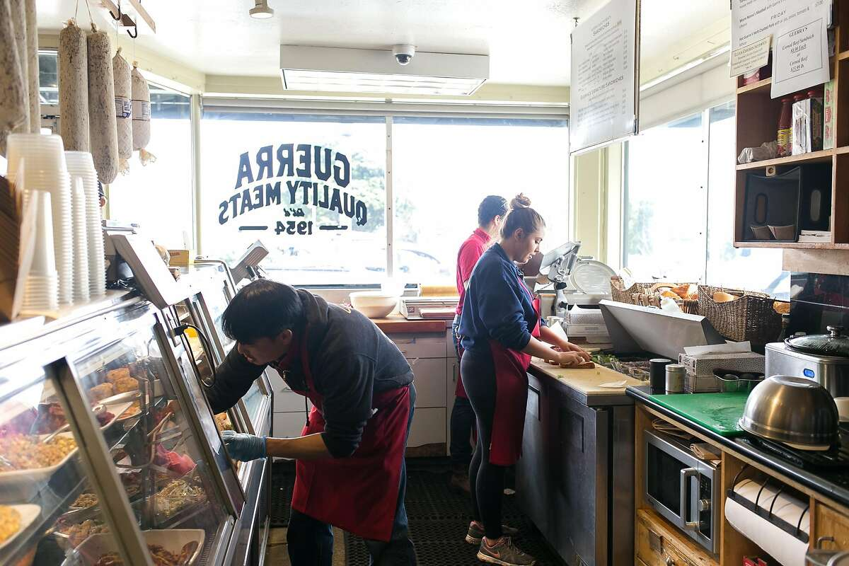 Deli and sandwhich area of Guerra Quality Meats in S.F.