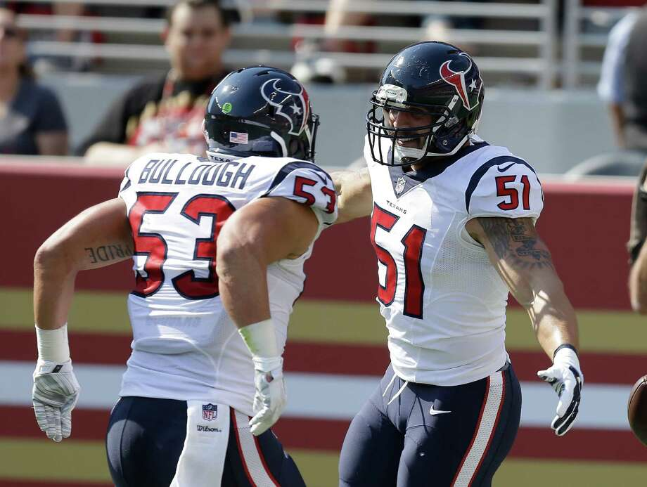 Houston Texans outside linebacker John Simon, right, is greeted by teammate Max Bullough, left, after scoring a touchdown on a 41-yard fumble recovery during the first half of an NFL preseason football game against the San Francisco 49ers Sunday, Aug. 14, 2016, in Santa Clara, Calif. (AP Photo/Ben Margot) Photo: Ben Margot, Associated Press / AP