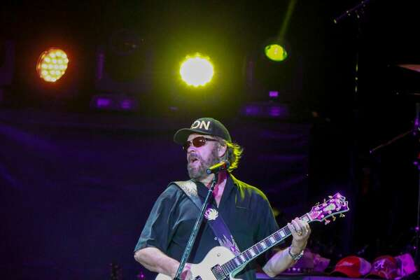 Hank Williams Jr. performing at the Cynthia Woods Mitchell Pavilion.   (For the Chronicle/Gary Fountain, August 12, 2016)