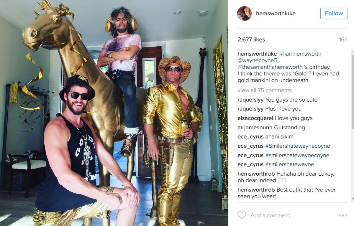 """@liamhemsworth @waynecoyne5 @thesamanthahemsworth 's birthday I think the theme was ""Gold""? I even had gold mankini on underneath,"" @hemsworthluke."