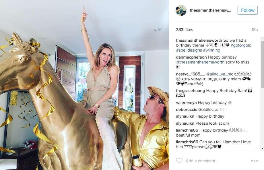 "Samantha Hemsworth, wife of Luke Hemsworth, shared an Instagram photo of her golden birthday party.""So we had a birthday theme,"" @thesamanthahemsworth. Photo: Instagram.com"