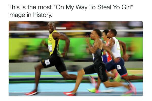 An image of a Usain Bolt meme that emerged after his dominant day at the Rio Olympics.