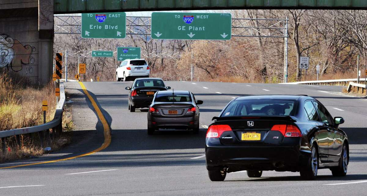 A view looking west at the Interstate 890 interchange near the General Electric plant on Sunday, Nov. 22, 2015, in Schenectady, N.Y. (Paul Buckowski / Times Union)
