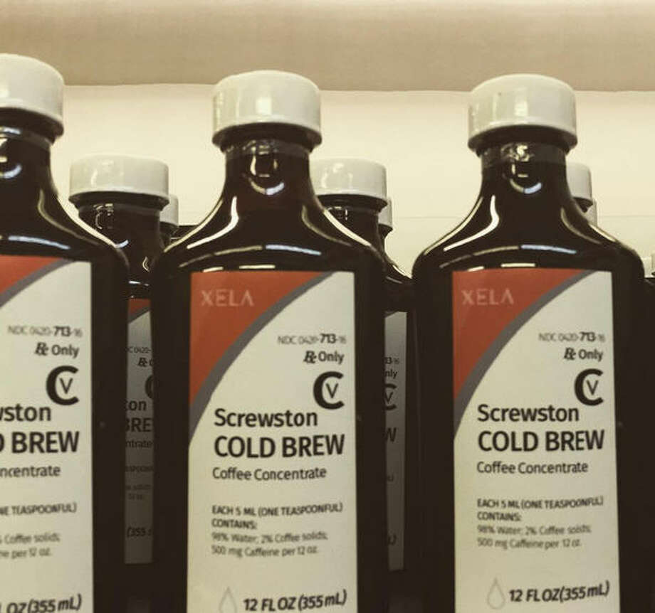 An upstart Houston coffee company is evoking the spirit of DJ Screw and other Houston rap legends with its new bottle of cold brew concentrate.Xela Coffee Roasters is packaging its cold brew inside cough syrup bottles with labeling that looks not unlike those used for Promethazine codeine cough syrup. Photo: XELA Coffee Roasters