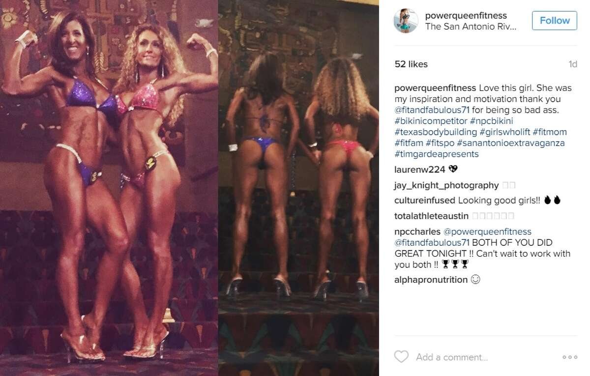 """""""Love this girl. She was my inspiration and motivation thank you @fitandfabulous71 for being so bad ass,"""" @powerqueenfitness."""