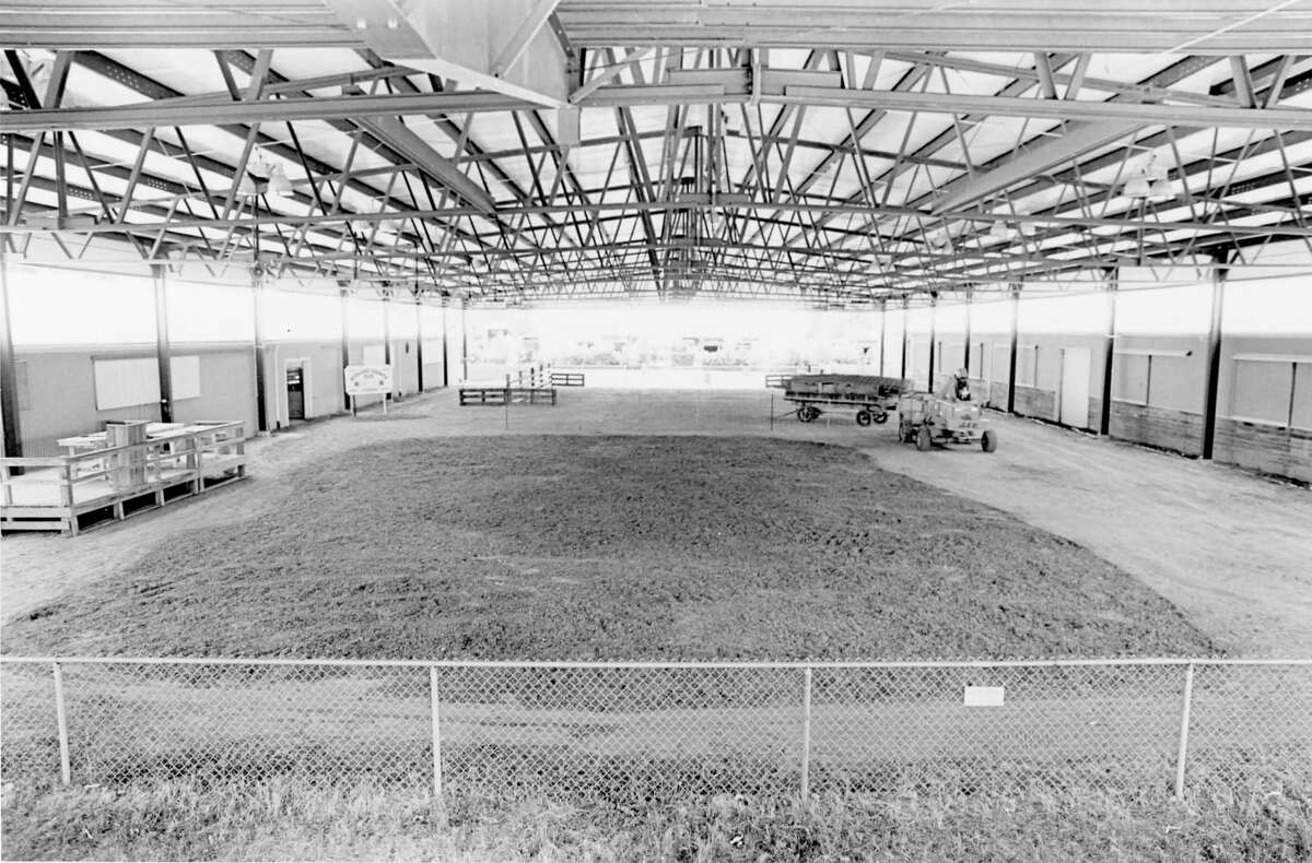 Glover Arena stands ready for the action before the start of the Midland County Fair. August 1992