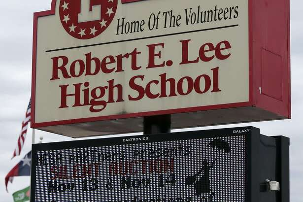 This is the sign at Robert E. Lee High School. A forum last week was designed to provide an opportunity to provide input generally and to present the majority and minority analyses of the board's decision to reject the student-led proposal to change the name of the one school in the district named after a leader of the Confederacy.
