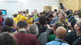 The media crowd waiting for Usain Bolt at Olympic Stadium