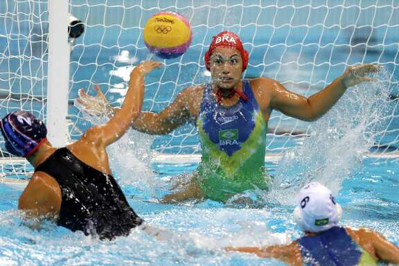 The U.S. women's water polo team made easy work of host Brazil, winning 13-3 as it tries to repeat as gold medal winners in the event.