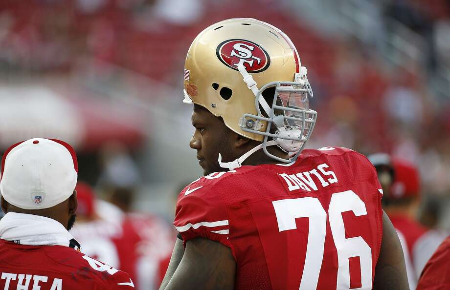 San Francisco 49ers offensive tackle Anthony Davis stands on the sidelines during the second half of an NFL preseason football game against the Houston Texans on Sunday, Aug. 14, 2016, in Santa Clara, Calif. Houston won the game 24-13. (AP Photo/Tony Avelar) Photo: Tony Avelar, Associated Press