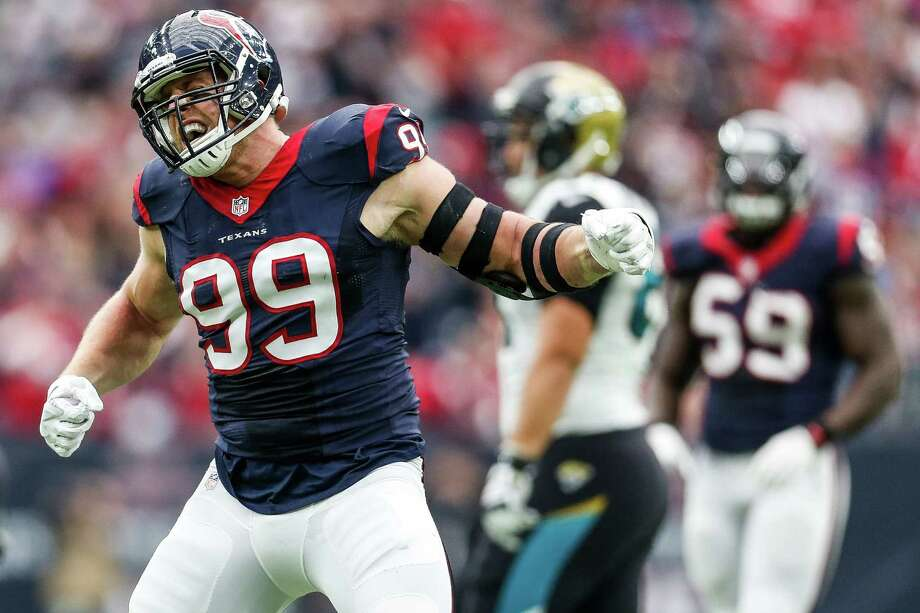 J.J. Watt has won three NFL Defensive Player of the Year Awards, which puts him in rare company when talking about the best linemen to play for the Oilers, Texans and Cowboys. Photo: Karen Warren, Staff / © 2015  Houston Chronicle