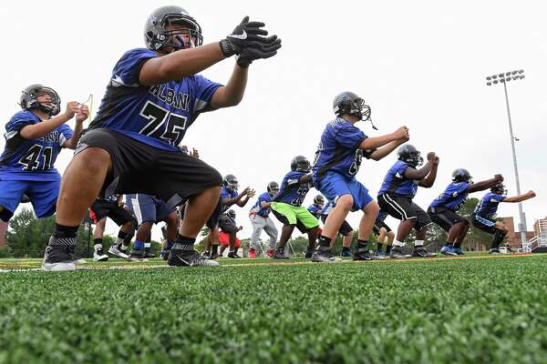 The Albany football team practices at Albany High School on Monday, Aug. 15, 2016 in Albany, N.Y.  (Lori Van Buren / Times Union)