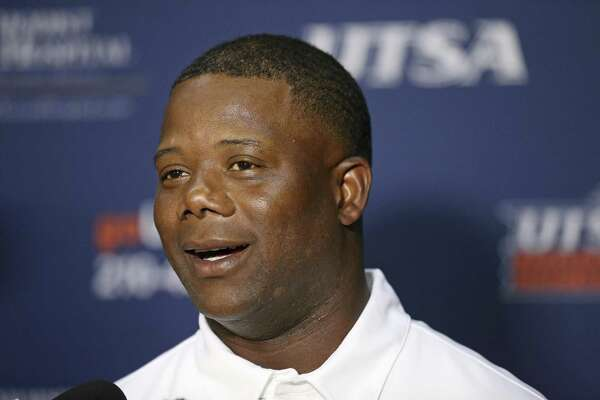 UTSA head coach Frank Wilson answers questions during media day held Monday Aug. 15, 2016 at the Alamodome.