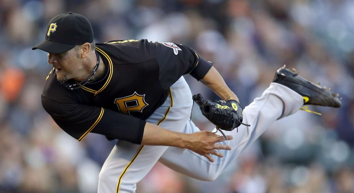 Pittsburgh Pirates pitcher Ryan Vogelsong works against the San Francisco Giants in the first inning of a baseball game, Monday, Aug. 15, 2016, in San Francisco. (AP Photo/Ben Margot)