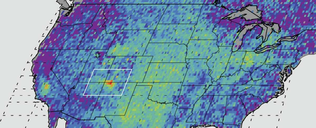 FILE - This undated handout image provided by NASA/JPL-Caltech/University of Michigan, shows the Four Corners area, in red, left, the major U.S. hot spot for methane emissions in this digital map, showing how much emissions varied from average background concentrations from 2003-2009. Dark colors are lower than average; lighter colors are higher. A puzzling concentration of the greenhouse gas methane over the Southwestern United States appears to come mostly from leaks in natural gas production, scientists said Monday, Aug. 15, 2016. (NASA, JPL-Caltech, University of Michigan via AP, File)