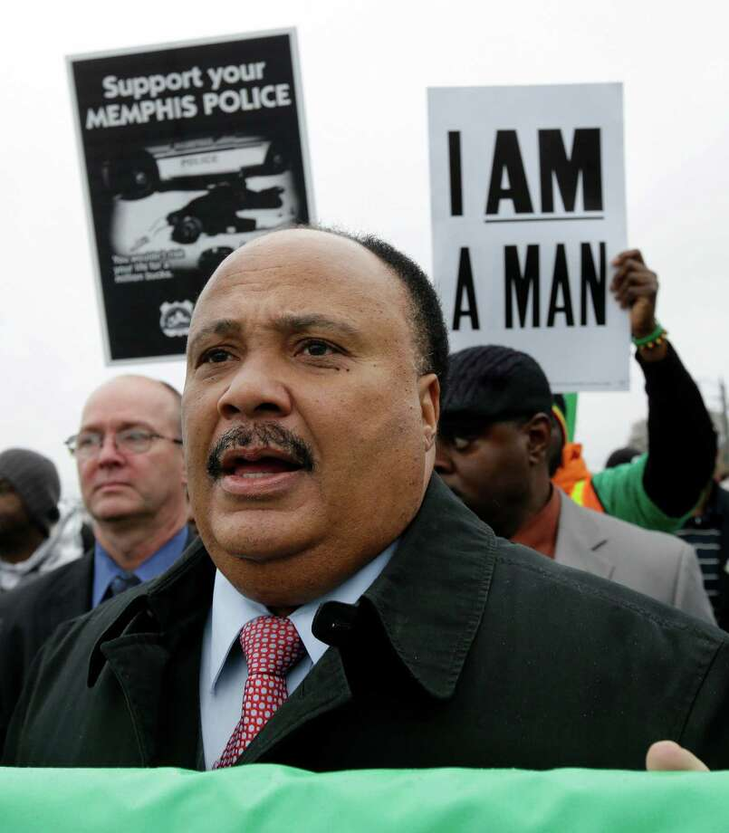 Martin Luther King III takes part in a march to the National Civil Rights Museum on Thursday, April 4, 2013, in Memphis, Tenn. Labor groups marched to call for better conditions on the 45th anniversary of the killing of King's father, Dr. Martin Luther King Jr., who as assassinated April 4, 1968, while he was in Memphis to support striking sanitation workers. (AP Photo/Mark Humphrey) Photo: Mark Humphrey / AP