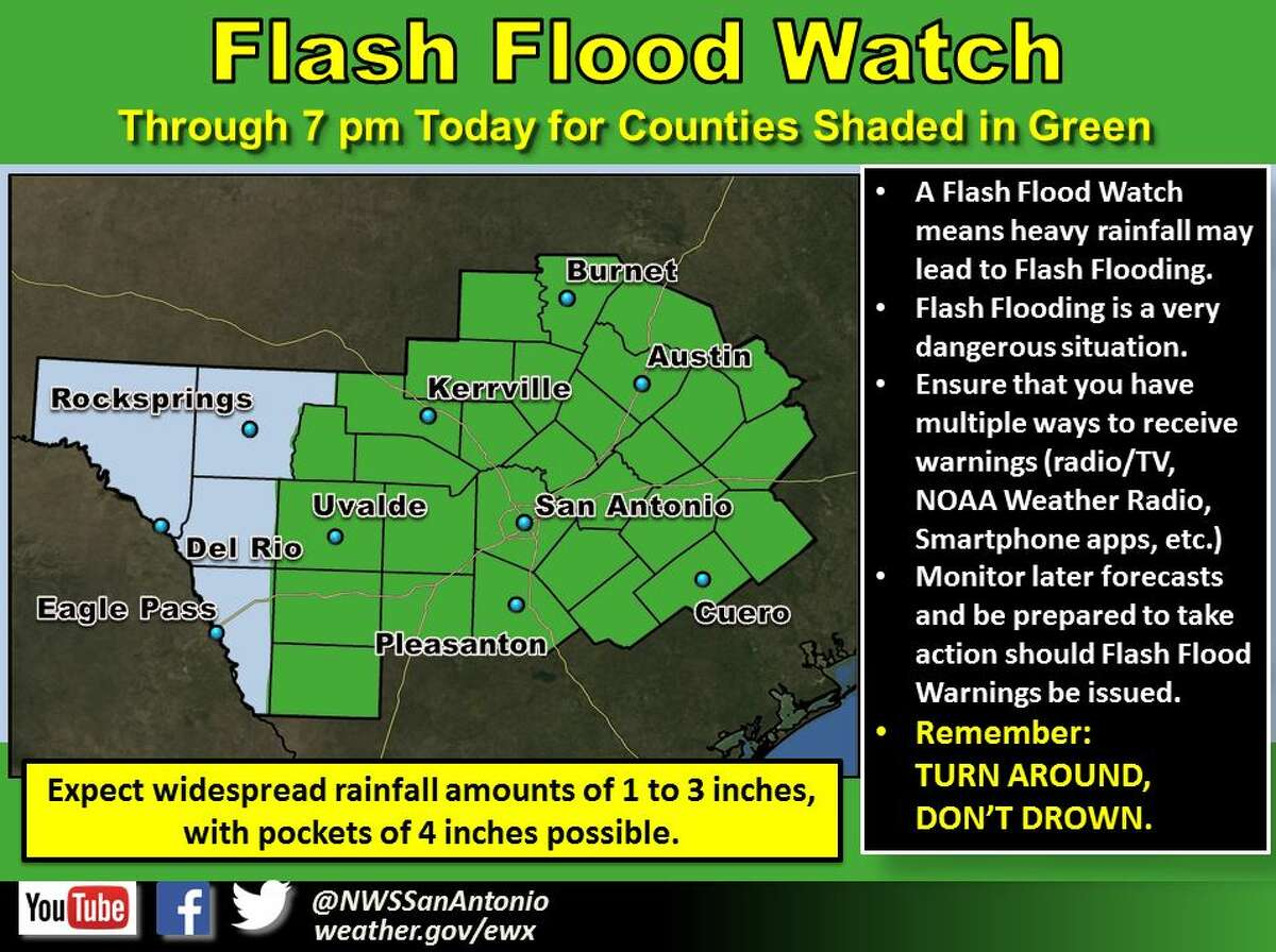 Bexar County and other South Central Texas counties are under a flash flood watch until 7 p.m. on Aug. 16, 2016.