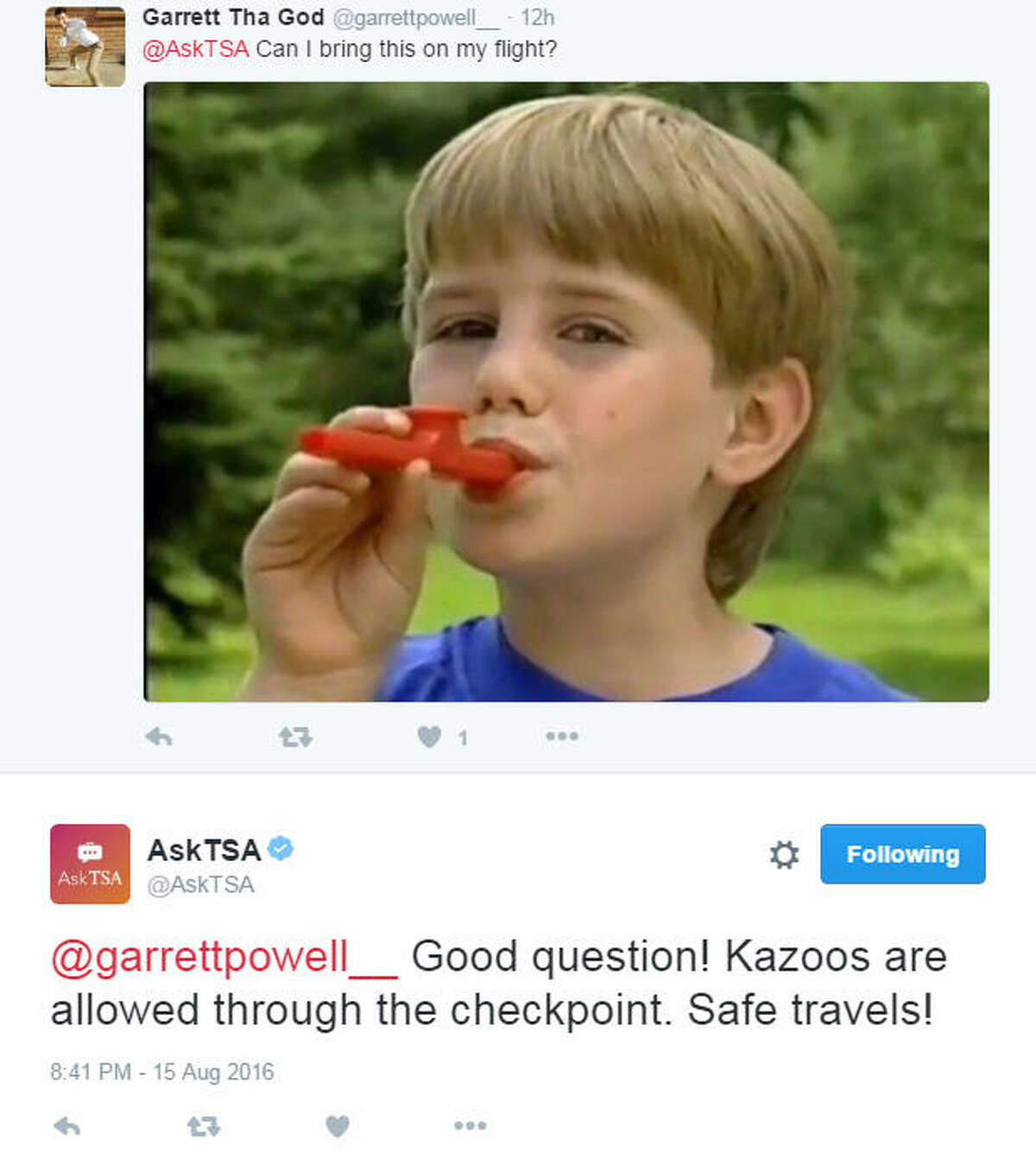 The Transportation Security Administration rolled out a new Twitter feed this year, @AskTSA, to let fliers know what they can and cannot bring on a plane. Of course some people are having fun with the helpful service.