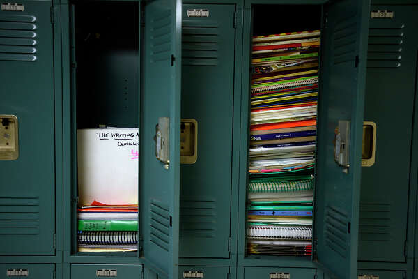 Teaching materials fill lockers in the fourth-grade hallway at Hamshire-Fannett Intermediate School on Monday. Photo taken Monday 8/15/16 Ryan Pelham/The Enterprise