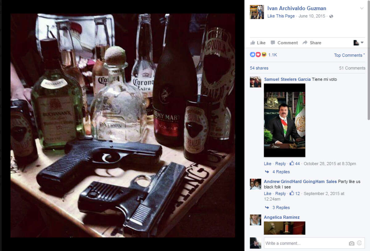 Photos posted to a Facebook page purportedly belonging to Ivan Guzman show an extravagant life of luxury cars, guns and drugs.