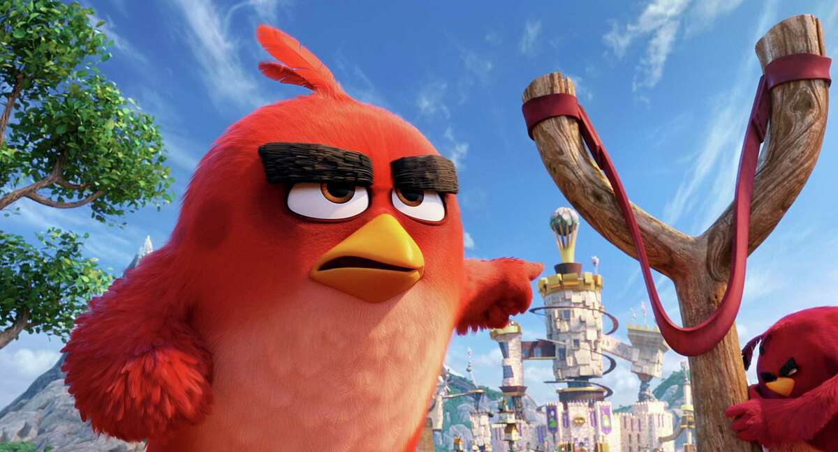 This image released by Sony Pictures shows the character Red, voiced by Jason Sudeikis, in a scene from 'The Angry Birds Movie.'