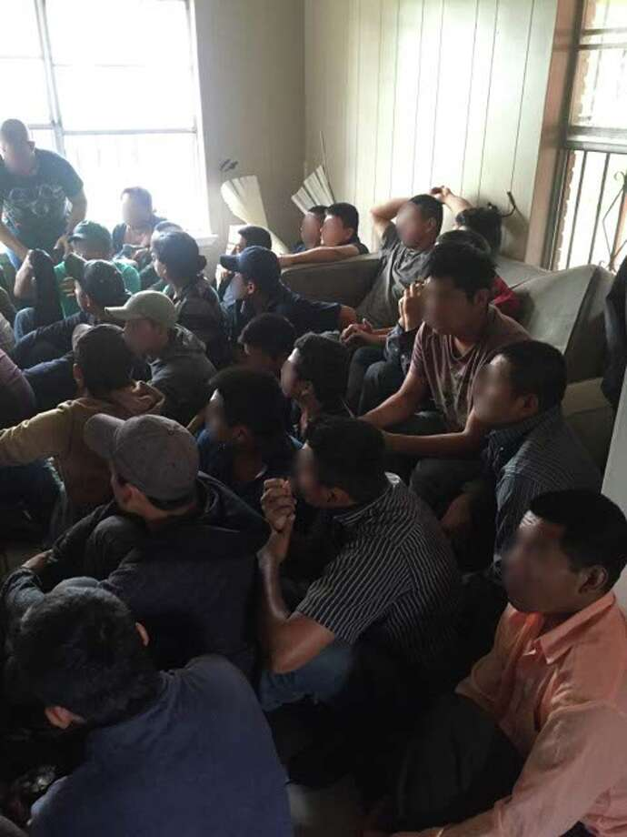Border Protection agents found 34 undocumented immigrants living inside a home in San Juan. Two smugglers were arrested during the find. Photo: U.S. Customs And Border Protection