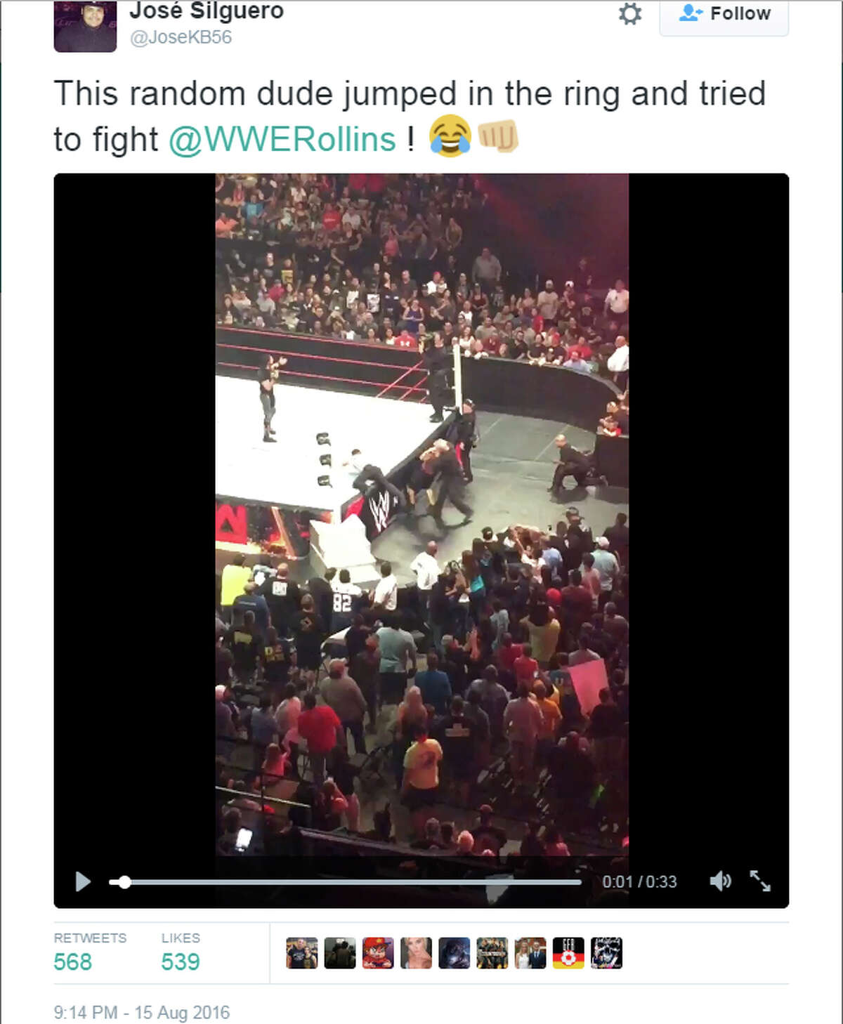 Footage from the August 15, 2016, event shows Edward Ferrero, who apparently jumped a gated area, run into the ring while WWE superstar Seth Rollins is speaking on the mic.