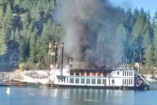 One person was hurt when the Tahoe Queen caught fire on the shore of Lake Tahoe Tuesday morning, August 16, 2016.