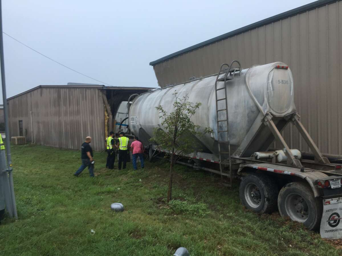 A driverless 18-wheeler carrying lime powder crashed into two buildings Aug. 16, 2016 in New Braunfels, officials said. At around 5:45 a.m., the 18-wheeler, which broke down earlier that day and was being hauled by a large wrecker truck, got loose and hit two buildings in the 4200 block of FM 482.