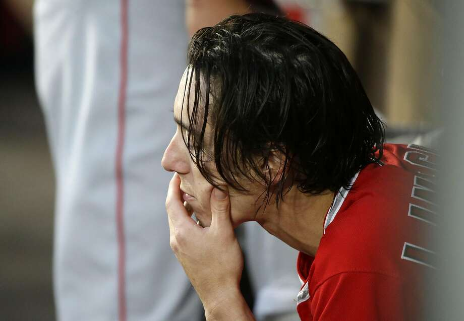 Los Angeles Angels starting pitcher Tim Lincecum sits in the dugout during a baseball game against the Seattle Mariners, Friday, Aug. 5, 2016, in Seattle. (AP Photo/Ted S. Warren) Photo: Ted S. Warren, Associated Press