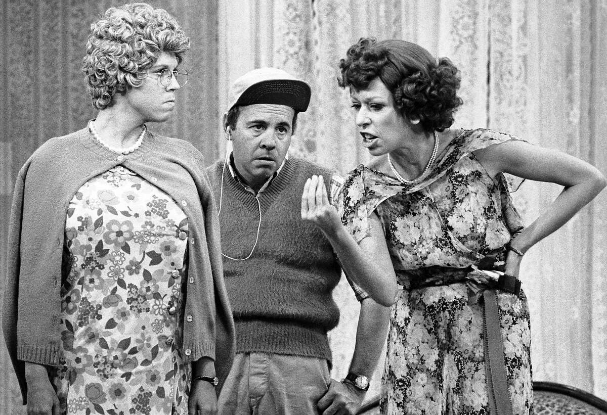 The Carol Burnett Show, featuring from left: Vicki Lawrence (as Mama Harper) Carol Burnett (as Eunice Higgins), Tim Conway (as Mickey Hart). Image dated December 2, 1977.