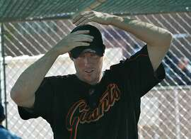GIANTS2-C-04MAR03-SP-DF Joe Nathan pitcher for the the San Francisco Giants works out at spring training in Scottsdale, Arizona. CHRONICLE PHOTO BY DEANNE FITZMAURICE